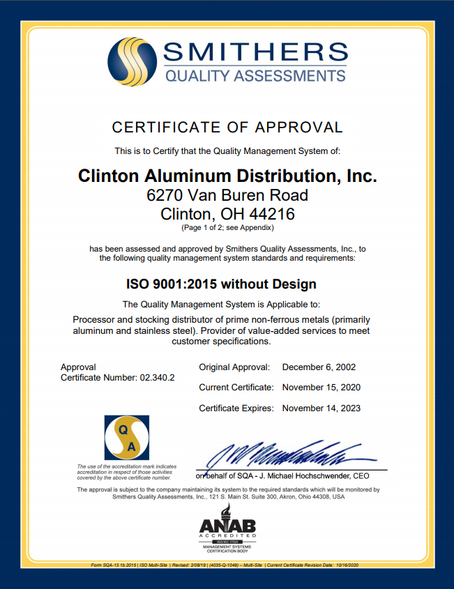 ISO Certificate -Clinton Aluminum - September 2020 - page 1