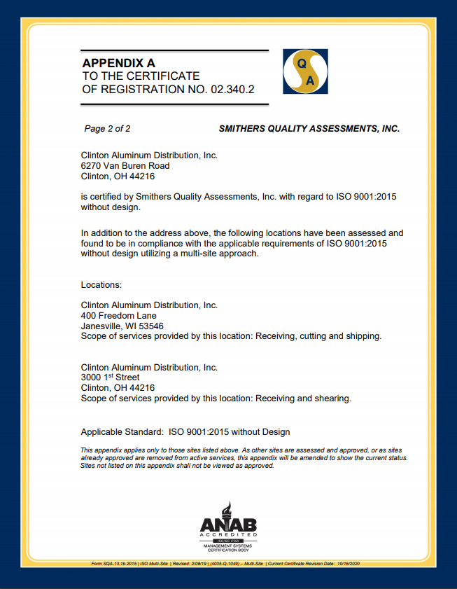 ISO Certificate -Clinton Aluminum - September 2020 - page 2